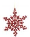 Sneeuwvlok decoratie rood 14 5 cm type 2