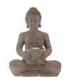 Solar lamp boeddha bruin grijs 28 cm