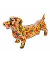 Spaarpot hond teckel 19 cm geel