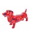 Spaarpot hond teckel 19 cm rood type 1