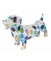 Spaarpot hond teckel 19 cm wit