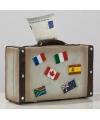 Spaarpot koffer met landenvlaggen