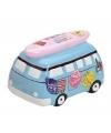 Spaarpot vakantie bus blauw 16 cm