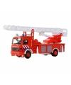 Speelgoed brandweerwagen met ladder 15 cm