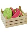 Speelgoed houten watermeloen in kist