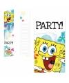 Spongebob thema uitnodigingen 6 stuks