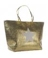 Strandtas met ster goud 58 x 38 cm