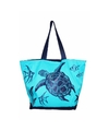 Strandtas turtle blauw 58 cm