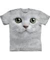 T shirt witte kat met groene ogen
