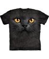 T shirt zwarte kat met gele ogen