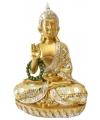 Thaise boeddha beeldje goud met ketting 22 cm
