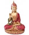Thaise boeddha beeldje rood met ketting 22 cm