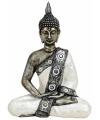 Thaise boeddha beeldje zilver wit 27 cm