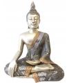 Thaise mediterende boeddha beeld zilver 46 cm