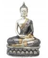 Thaise mediterende boeddha beeldje zilver 28 cm