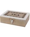 Theedoos 6 vakken hout 24 cm