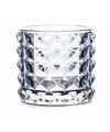 Theelichthouder lyon lichtblauw glas 10 cm