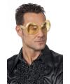Toppers gouden disco bril met diamanten