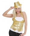 Toppers gouden gilet met pailletten voor dames