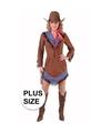 Toppers grote maten cowgirl jurkje bruin voor dames