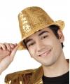 Toppers hoed met gouden pailletten