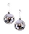 Toppers zilveren discobal oorbellen