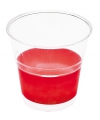 Transparante bekers met rode rand
