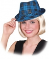 Trilby hoed turquoise ruit