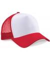 Truckers cap rood wit voor volwassenen