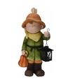 Tuinbeeld jongetje met lantaarn 43 cm