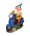 Tuinkabouter met blauwe scooter 25 cm