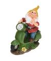 Tuinkabouter met groene scooter 25 cm