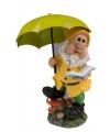 Tuinkabouter met lime groene paraplu