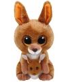Ty beanie boo s klipper pluche bruine kangoeroe knuffel 15 cm