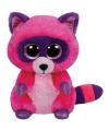 Ty beanie knuffel roze wasbeer 15 cm