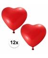 Valentijn 12x hartjes ballonnen rood