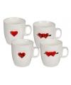 Valentijn koffiekopjes met hartjes 4 stuks
