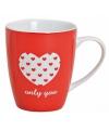 Valentijn rode beker met wit hart