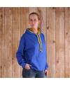 Varsity dames hoodie kobalt met geel