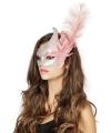 Venetiaans oogmasker roze zilver met veer