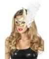 Venetiaans oogmasker wit goud met veer