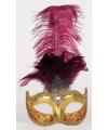 Venetiaans veren oogmasker bordeaux met goud