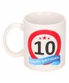 Verjaardag 10 jaar verkeersbord mok beker