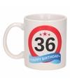 Verjaardag 36 jaar verkeersbord mok beker