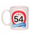 Verjaardag 54 jaar verkeersbord mok beker