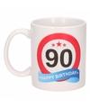 Verjaardag 90 jaar verkeersbord mok beker