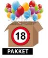 Verkeersbord 18 jaar feestartikelen pakket