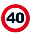 Verkeersbord 40 jaar poster 49 cm