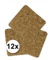 Vierkante onderzetters kurk 12 stuks