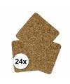Vierkante onderzetters kurk 24 stuks